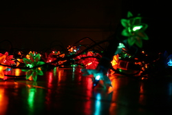 Christmas lights lying on the floor